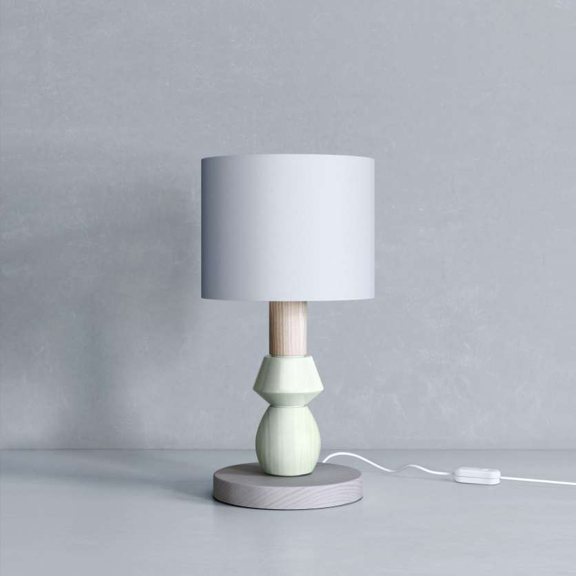Bedside lamp in green and grey