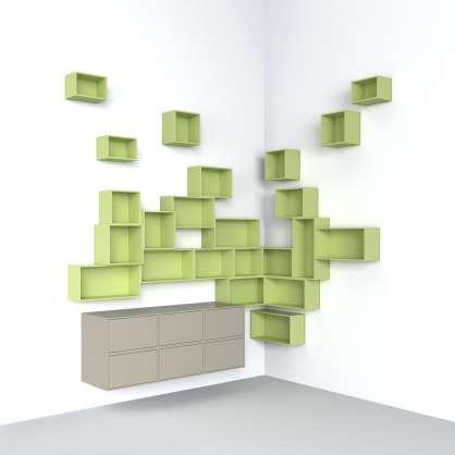 Suspended corner shelf