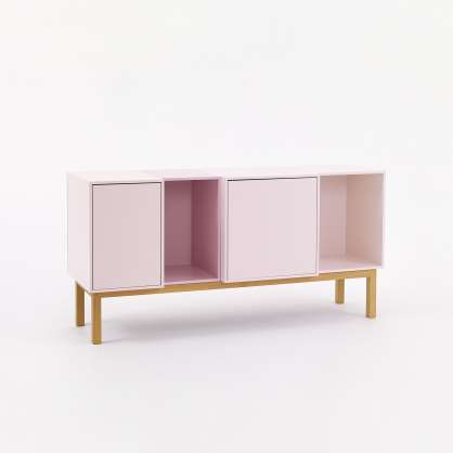 Sideboard 1.30 m with open and closed modules in pink