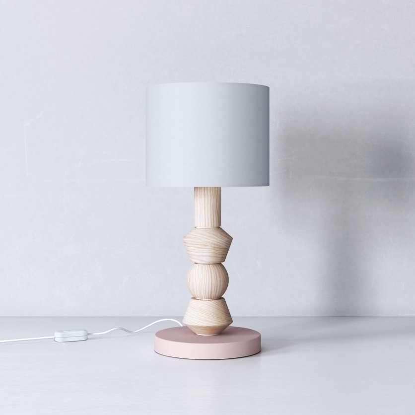 Lampada da tavolo in legno cerato su piede rosa