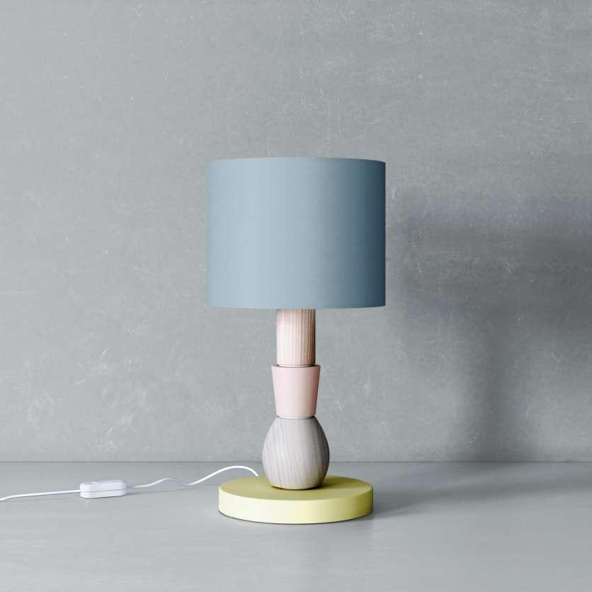 Modular lamp with pigeon blue tubular lampshade