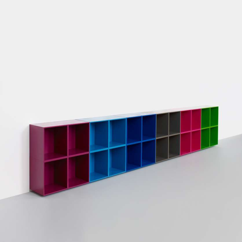Practical sideboard made from multi-coloured modules