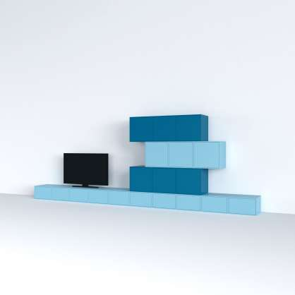 Stereo shelving made of spray-painted MDF