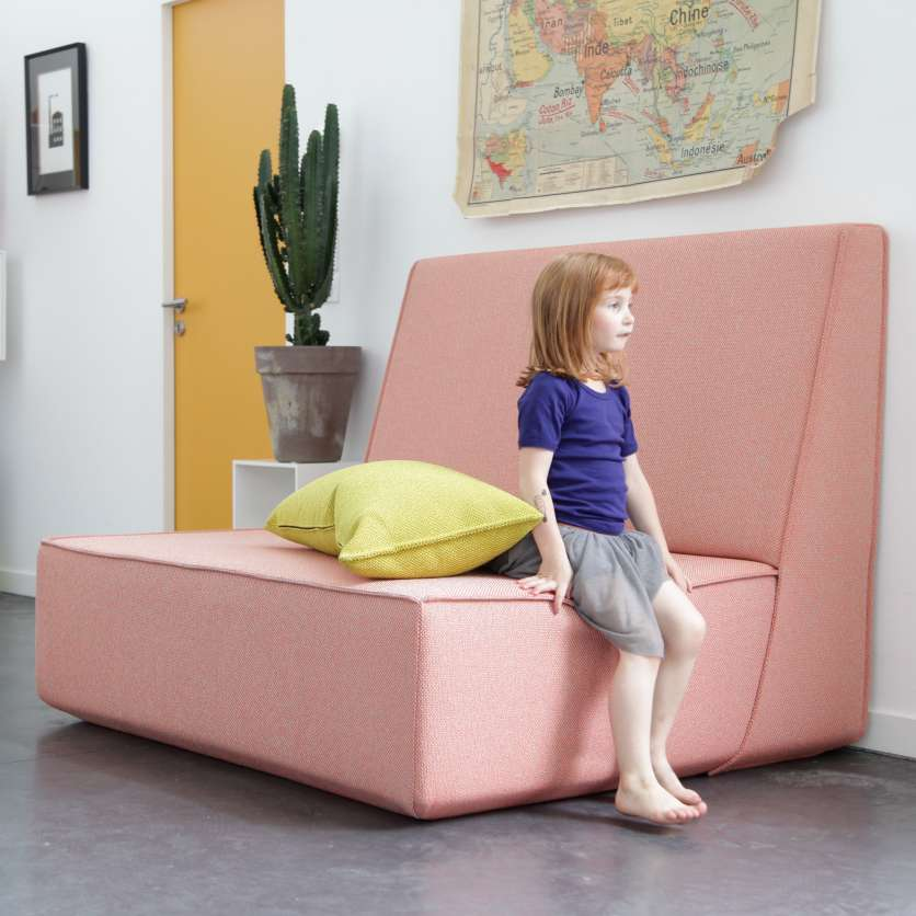 Mine! Large comfortable armchair in pink with yellow cushion