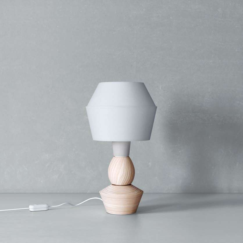 Modular table lamp with oiled ash and grey lampshade