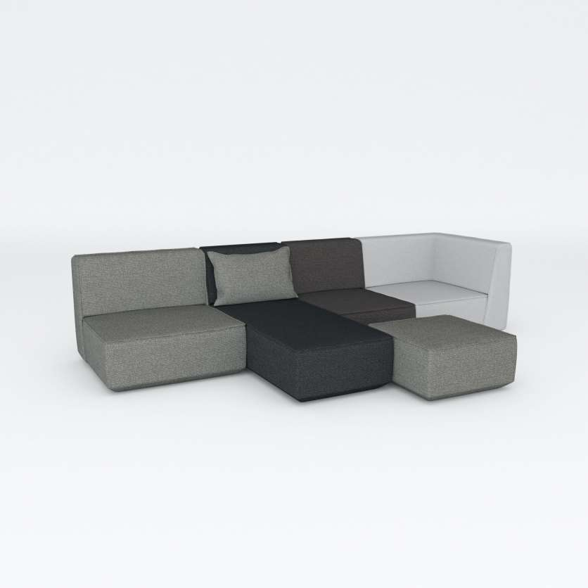 Grey sofa group with chaise longue and adaptable extension