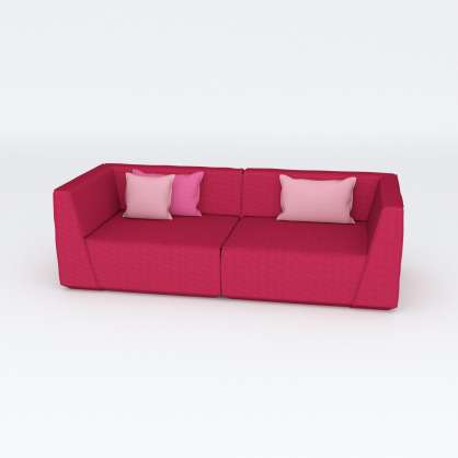 Pretty in Pink: 3er–Sofa aus zwei Eckmodulen