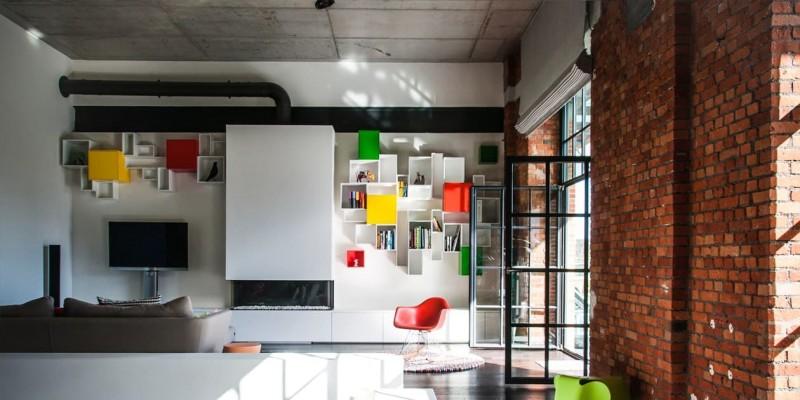 Wohnzimmer mit modularem Regal