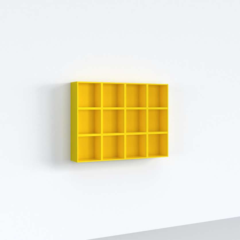DVD wall-mounted shelving unit in yellow