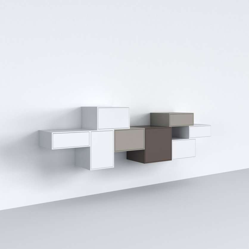 Suspended sideboard, closed