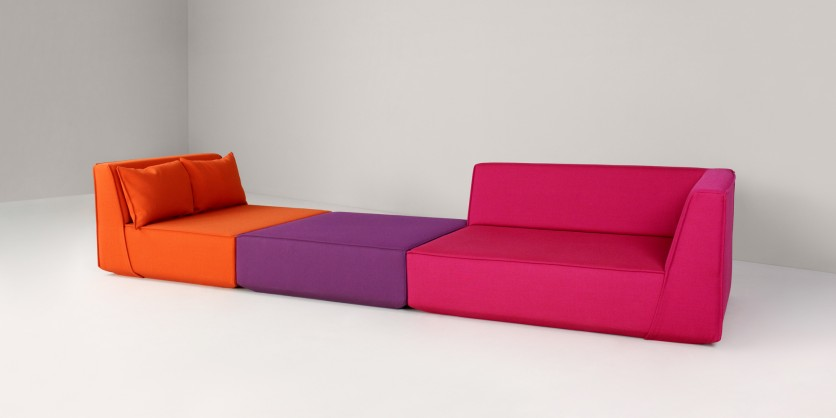 Modular designer sofa made of three modules
