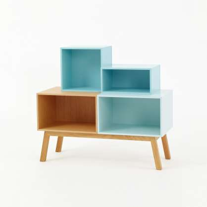 Open designer sideboard with blue modules and slanting wooden feet
