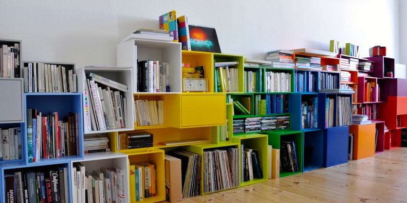 Colourful cube shelving as a low sideboard