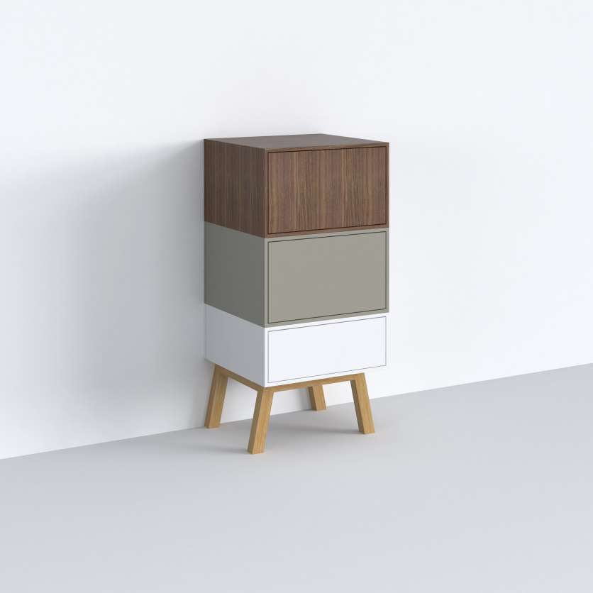 Three different modules combined to form a narrow sideboard