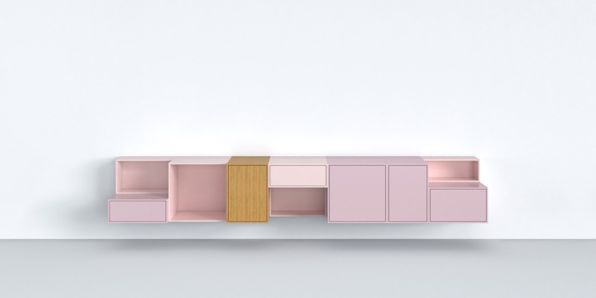Purist: Cubit low sideboard in shades of pink pastel