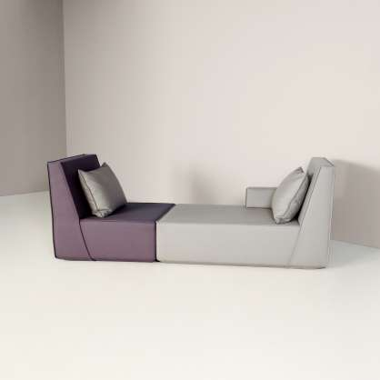 A charming chaise-longue with asymmetrical layout