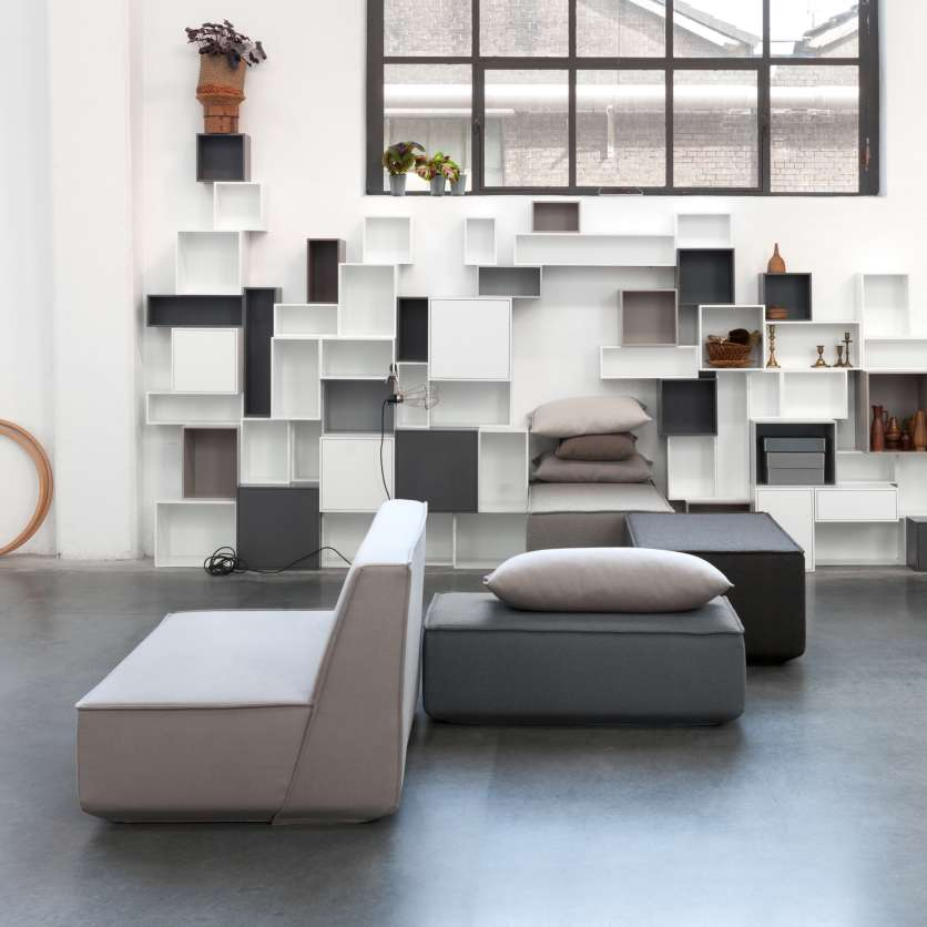 Modern sofa ensemble: sofa and shelving