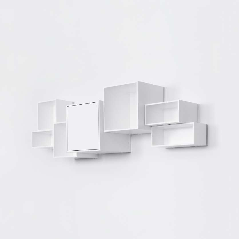 Wall-mounted shelving in white