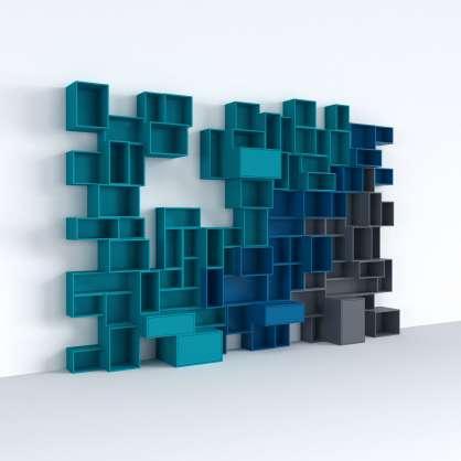 Modulares Regalsystem in Blau und Grau