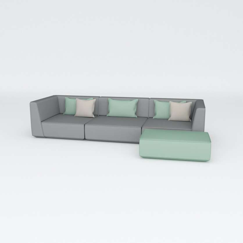 So sophisticated: 3-seater in grey with ottoman in petrol