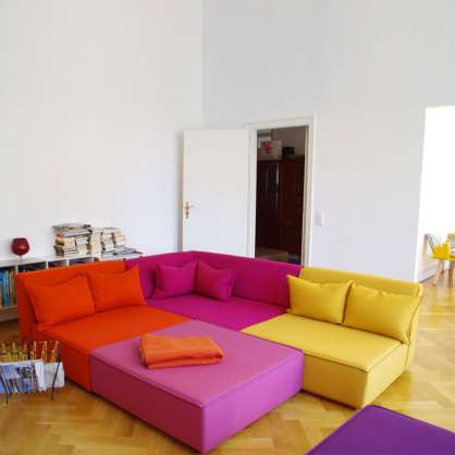 Bunte XXL Sofa-Wohnlandschaft