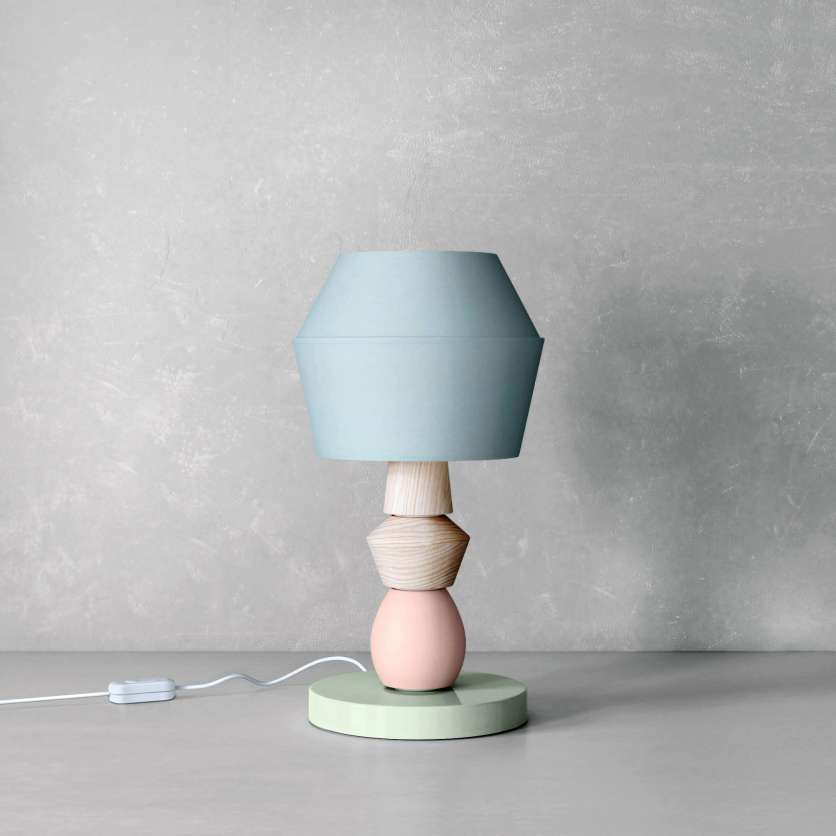Modular table lamp in shades of pastel