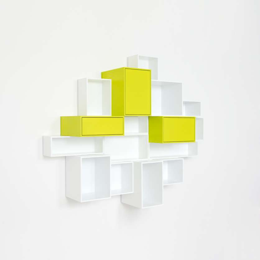 Wall-mounted shelving in white and yellow