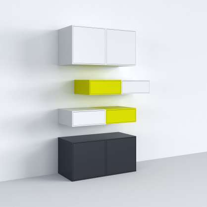 Stylish and closed wall-mounted shelving