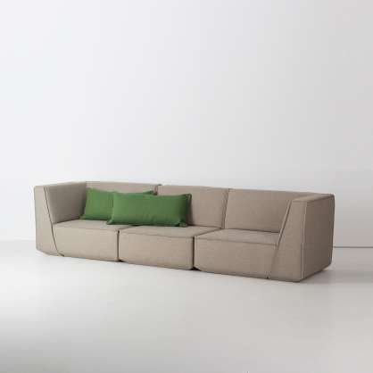 Straight-forward: grey 3-seater sofa with green cushions