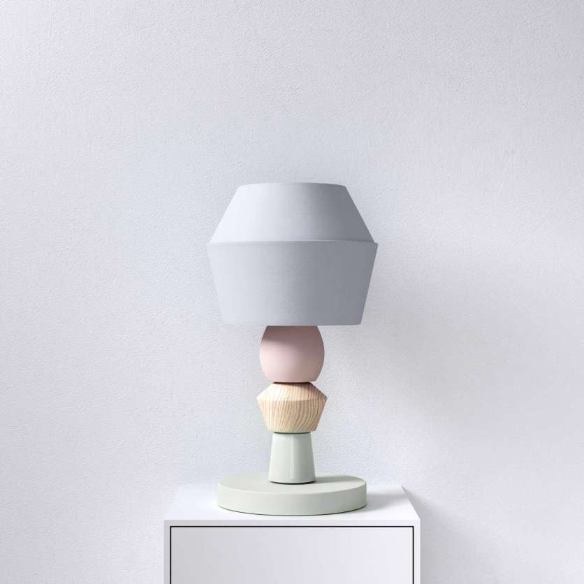 Table lamp spray-painted green and pink