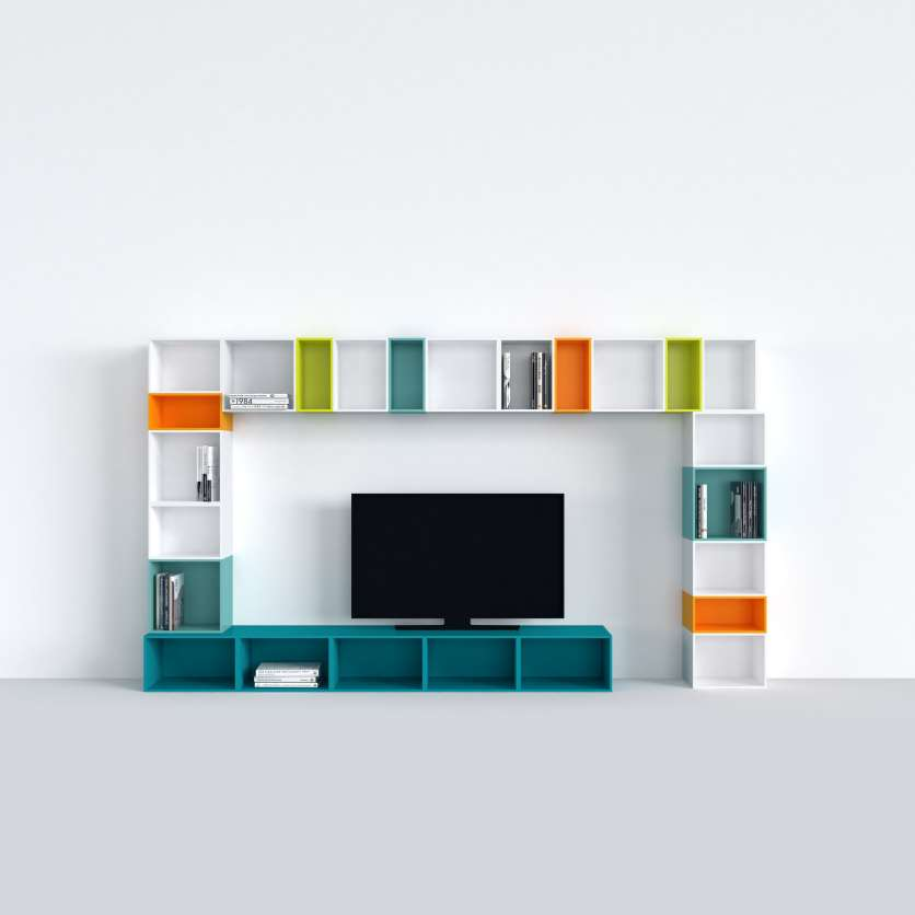 TV shelving in white and various colours
