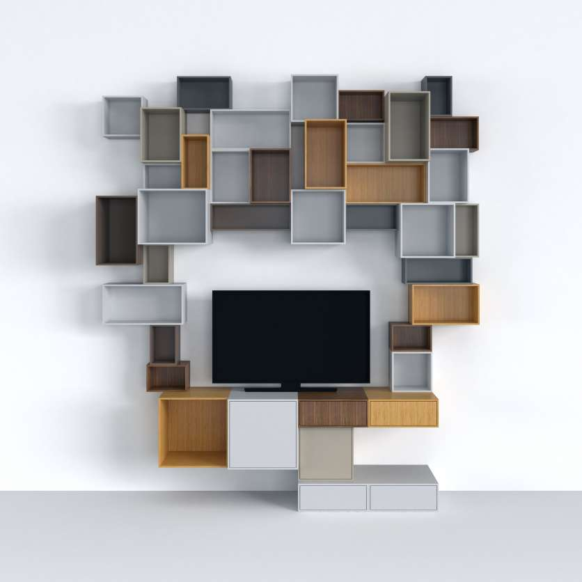 TV entourée de cubes de rangement du système modualable Cubit