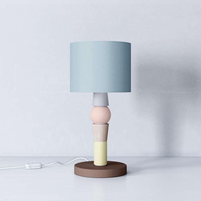 Lampe en bois avec abat-jour bleu