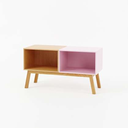 Bedside table in oak veneer and pink with small base frame