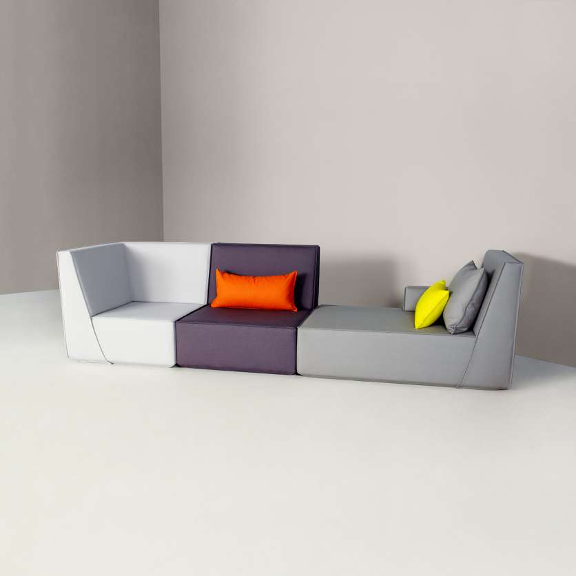 Sofa made up of three different seats