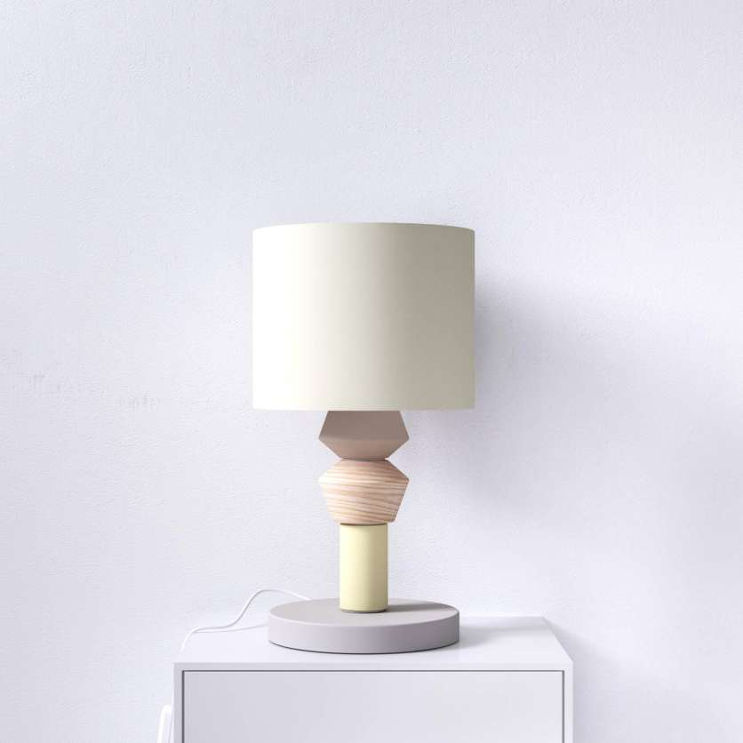 Bedside lamp in grey, yellow and rose