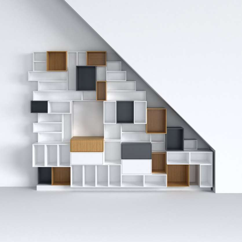 Stylish shelving for installation beneath sloping ceilings and stairs