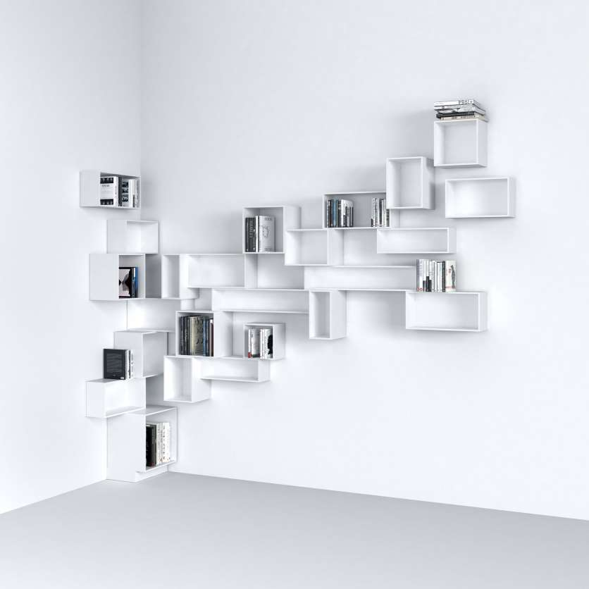 Wall-mounted corner shelving in white