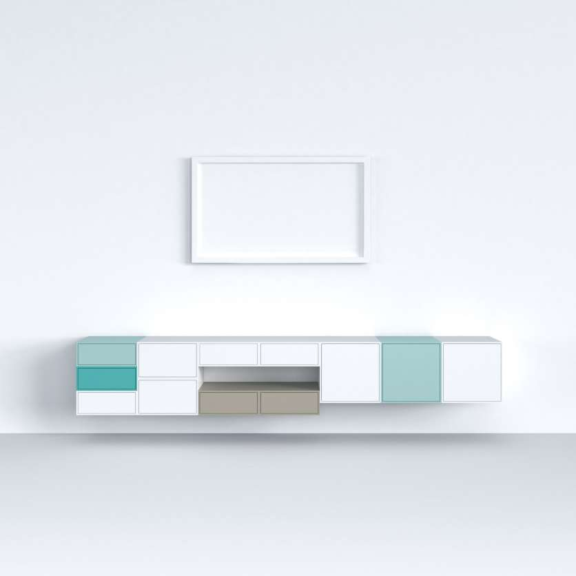 Suspended sideboard 200cm with TV