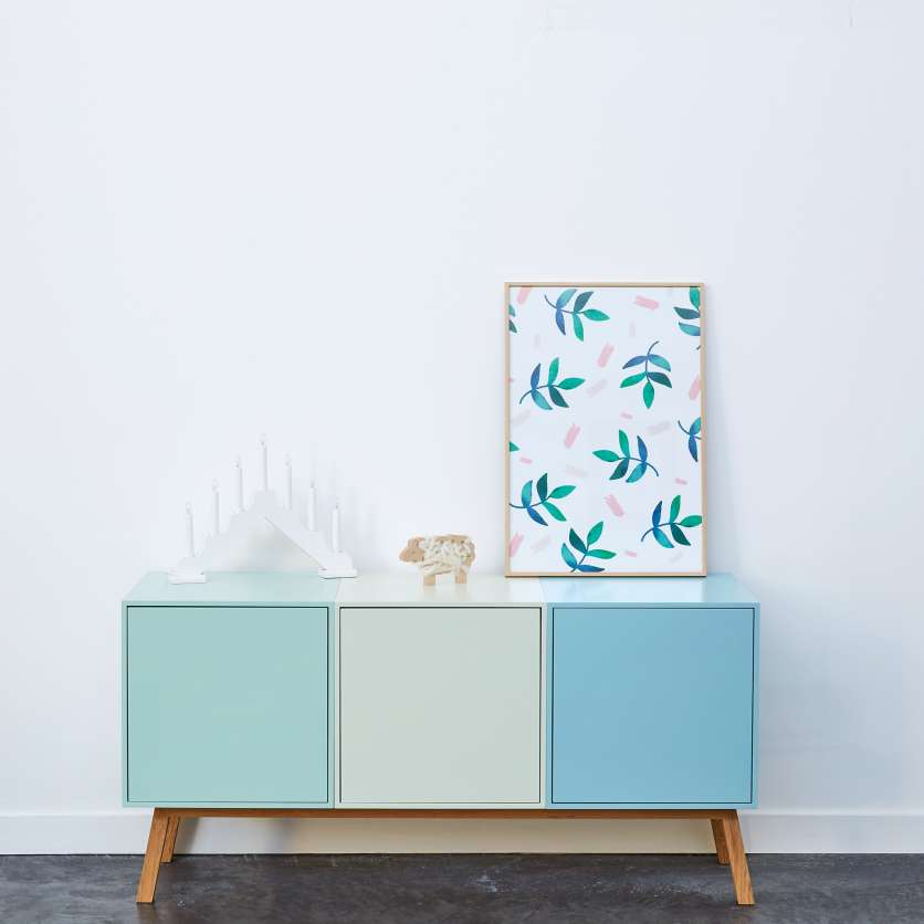 Clean low sideboard in shades of pastel