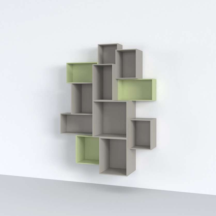 Green and grey shelving modules forming suspended wall-mounted shelving