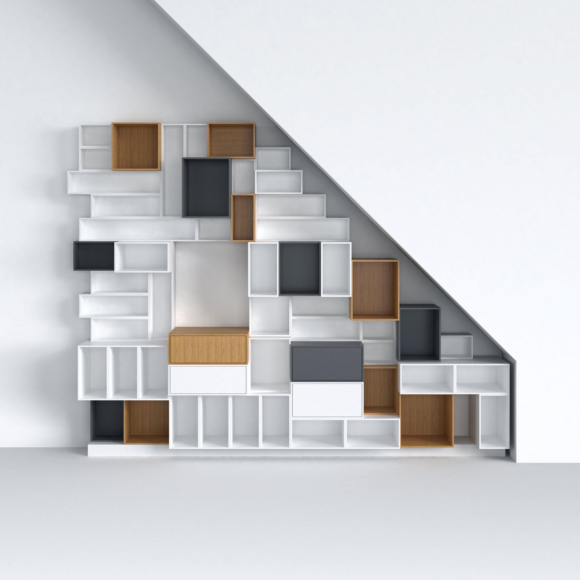 Creer Un Meuble Sous Escalier Étagère et bibliothèque sous esacalier et sous-pente