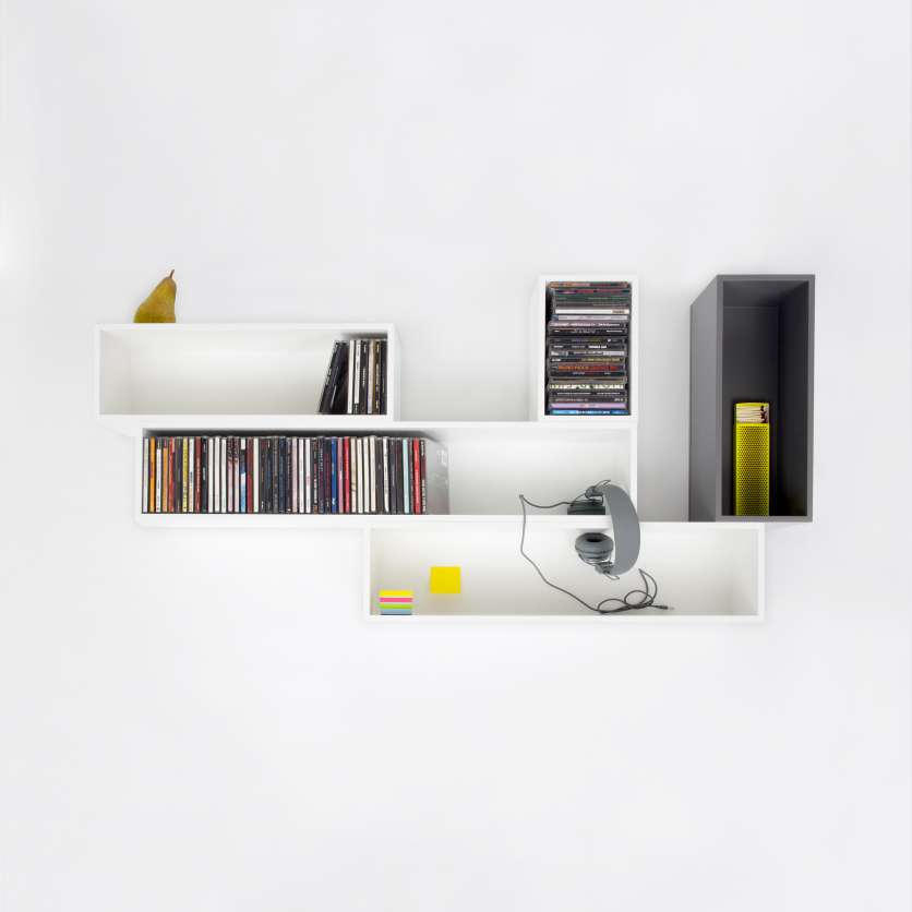 Wall-mounted CD shelving in white
