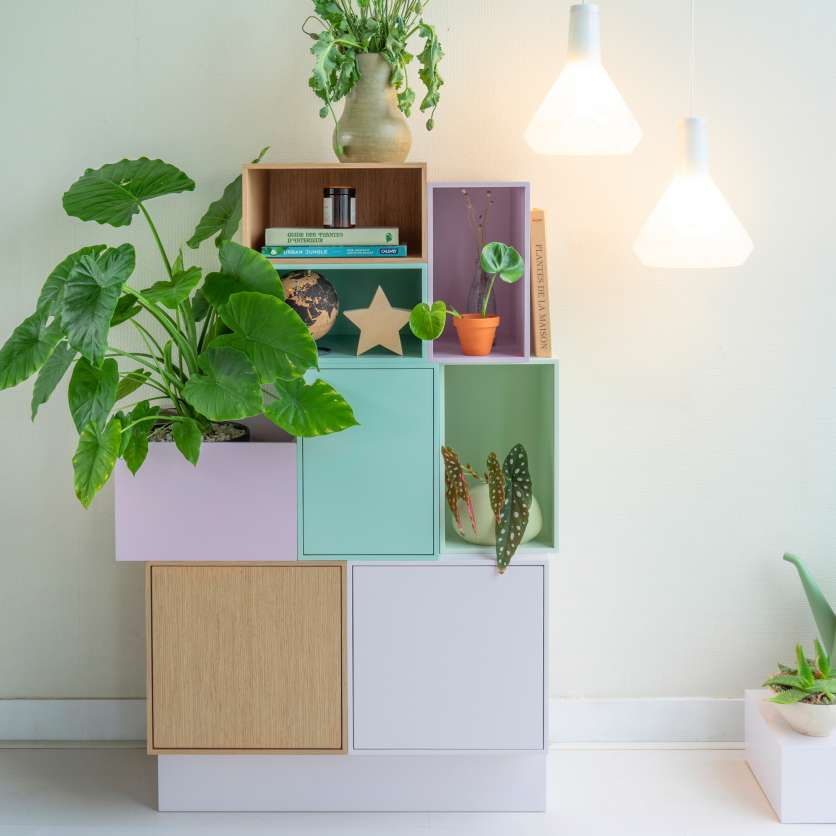 Modular shelving in friendly pastel colours