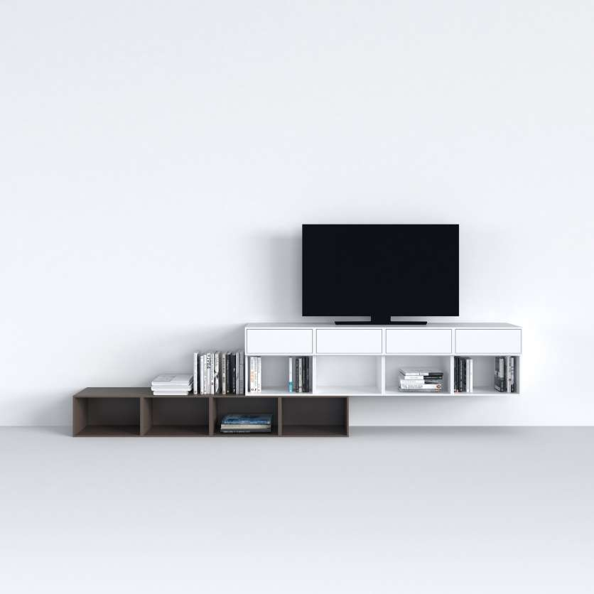 Stylish TV shelving in white and brown