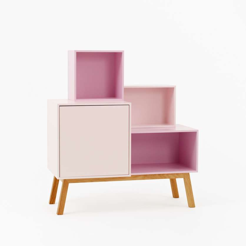 Retro sideboard composed of six modules in rose with base frame