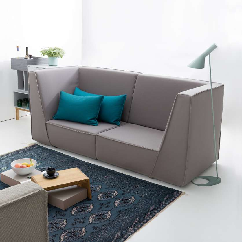 Grey 2-seater sofa with high backrests