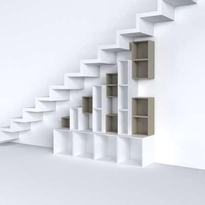 Konfigurierbares Regal in grau und weiß