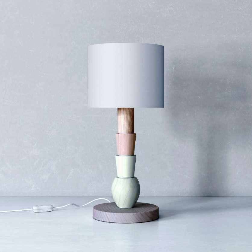 Lampe en bois de plusieurs couleurs : gris, vert et bois