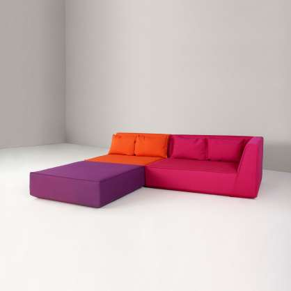 A modular sofa with a deep seat